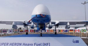 Super Heron has six hardpoints carrying external stores. The configuration displayed at the Singapore Airshow does not show weapons carried, but various sensors carried in pylons, including communications intelligence, signals intelligence and self-protection systems. Photo: Noam Eshel, Defense-Update