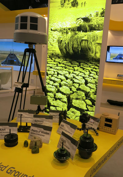"Elbit Systems' ""Treasures"" networked UGS system displayed at the Singapore Airshow 2014. Photo: Noam Eshel, Defense-Update"