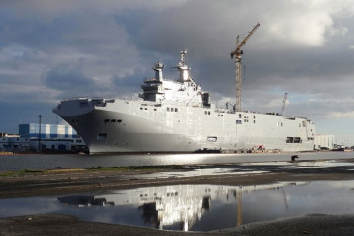 Vladivostok under construction at DCNS' shipyard at St Nazaire. Photo: Christian Plagué.