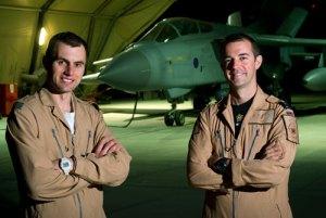 2(AC) Sqn Tornado GR4 crew, L-R:Pilot Flight Lieutenant Geoff Williams and Navigator, Flight Lieutenant Mark Hodgkiss, at Kandahar Airfield, Afghanistan. Photo: Crown Copyright