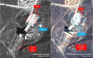 Satellite images showing the launch pad before and after a possible test of the KN08 engine in March-April 2014. The next logical phase is a test flight of the entire system, 38North predicts. Photo: Digital Globe, Airbus Defense & Space via 38North