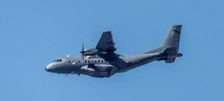the CN-235 CN processed by ATK-235 Gunship to the Jordanian Air Force. Note the weapons pylon on the side and ECM installation on the aircraft tail. The photo has been taken last October at Meachem International Airport in Fort Worth, Texas.
