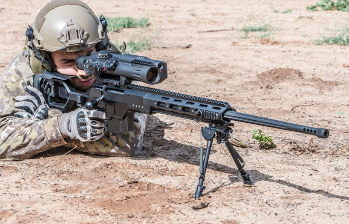 The DAN .338 fitted with Meprolight's MESLAS Sniper's Fire-Controlled Riflescope, a 10 x 40 optical sight with an  Integrated Laser Rangefinder. Photo: IWI