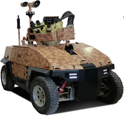 The new Hybrid Multipurpose Vehicle (HMV) from G-NIUS will be available in two variants - an all electric and hybrid electric, both will be able to carry payloads up to 1.2 tons. The vehicle on display at Eurosatory carries a remote weapon station produced by Elbit Systems. Photo: G-NIUS