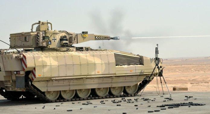 The Puma undergoing firing trials in the UAE, summer 2013. Photo: Rheinmetall Defence