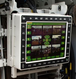 The situational display inside the Scout SV, showing multi-image view taken by the cameras surrounding the vehicle, providing all-round situational display for the crew. Photo: MOD, Crown Copyright