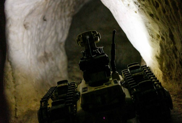 MTGR seen on a tunnel reconnaissance mission.The robot uses on-board illumination to illuminate the scene. It can also use a thermal camera for more covert surveillance. Photo: Roboteam