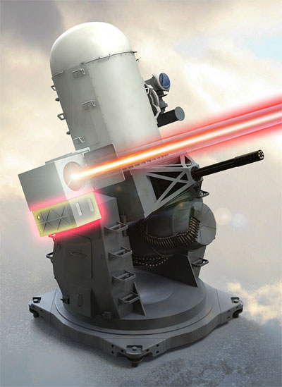Raytheon's laser architecture is implemented in a number of directed-energy weapon applications, including the Laser-Phalanx derivative of the classic naval Close-In Weapon System. Illustration: Raytheon.