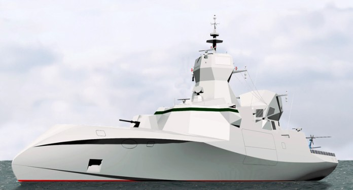 At Eurosatory 2014 CMS unveiled the latest concept design of its new C Sword 90 stealth corvette, a direct descendant of the Combattante family of compact missile boats that was first introduced in the 1960s. Image: CMS