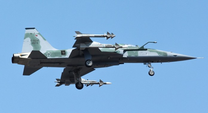 This configuration shows the F-5EM armed with Python IV and Derby missiles.