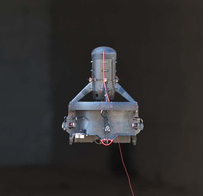The Extreme Access System for Entry (EASE) is a small hovering robot designed for inspection and ISR (intelligence, surveillance, and reconnaissance) applications. EASE is intended for operating in close quarters, beyond line of sight, and in GPS denied areas; all of which are critical when performing search and rescue missions, building clearing, or civil infrastructure inspection. Photo: CyPhy Works