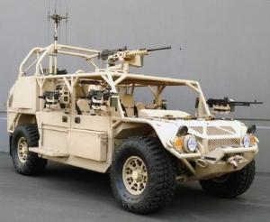 The Flyer 72 specially modified for SOCOM GMV 1.1 specifications has entered low rate initial production for a production series of 72 vehicles. (GD photo)