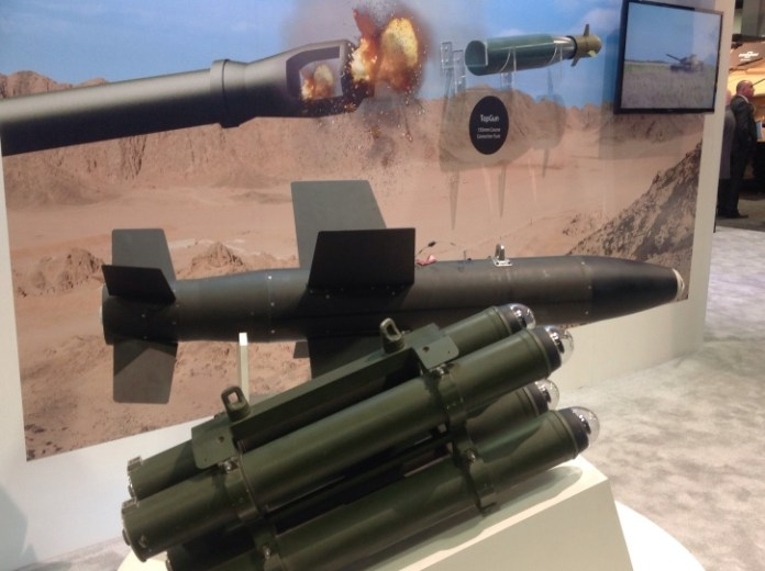 Three types of precision weapons on display at IAI's AUSA 2014 display - the Lahat, a compact laser guide bomb and Topgun, an GPS-based guidance system for artillery projectiles.