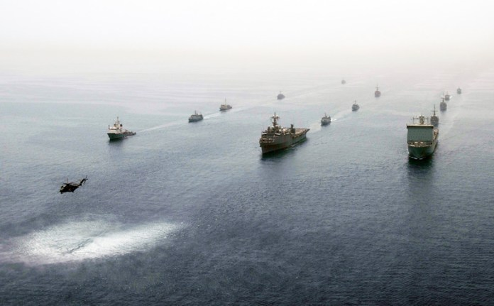 Ships participating in International Mine Countermeasures Exercise (IMCMEX) 2013 in May 2013. This year IMCMEX 14 began November 30, and will continue through November 13. Navies from 44 nations are participating in this year's exercise, whose focus is to promote regional security through mine countermeasure operations. (U.S. Navy photo by Michael Sandberg)
