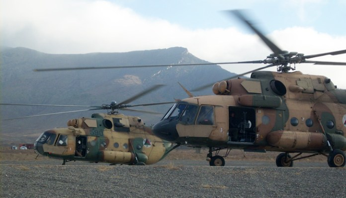 Afghan Air Force Mi-8 and Mi-17 medium utility helicopters depart the helicopter landing zone at FOB Lightning/Thunder in Paktiya province, Afghanistan. Photo: (U.S. Army by Capt Yau-Liong Tsai.