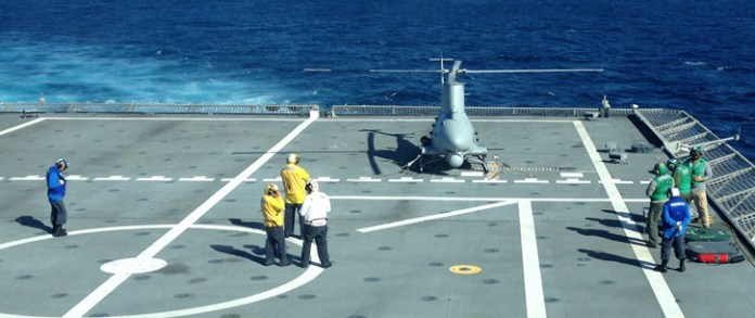 An unmanned MQ-8B Fire Scout conducts testing aboard USS Coronado (LCS 4) in mid-September off the coast of San Diego. The Fire Scout will deploy with its first littoral combat ship in autumn 2014. Photo: US Navy