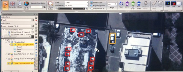 An image showing multi-type processing of the system, showing a specific vehicle type among other targets spotted on the roofs. Photo: VideoInform (from screen).