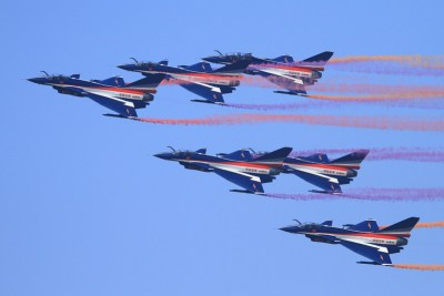 The Chinese August 1 aerobatic team will perform at Zhuhai Airshow China, flying eight J-10 fighters.
