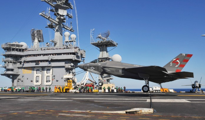 An F-35C Lightening II carrier variant Joint Strike Fighter conducts it's first arrested landing aboard the aircraft carrier USS Nimitz (CVN 68). Nimitz is underway conducting routine training exercises. (U.S. Navy photo by Kelly M. Agee)