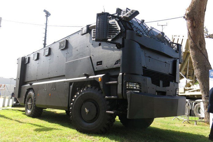 Guarder from Plasan is a 22 ton armor protected vehicle designed for SWAT mobility. The Guarder can carry 22 troops, or be configured as a forward command post, enabling troops to operate in high risk areas. Photo: Tamir Eshel, Defense-Update