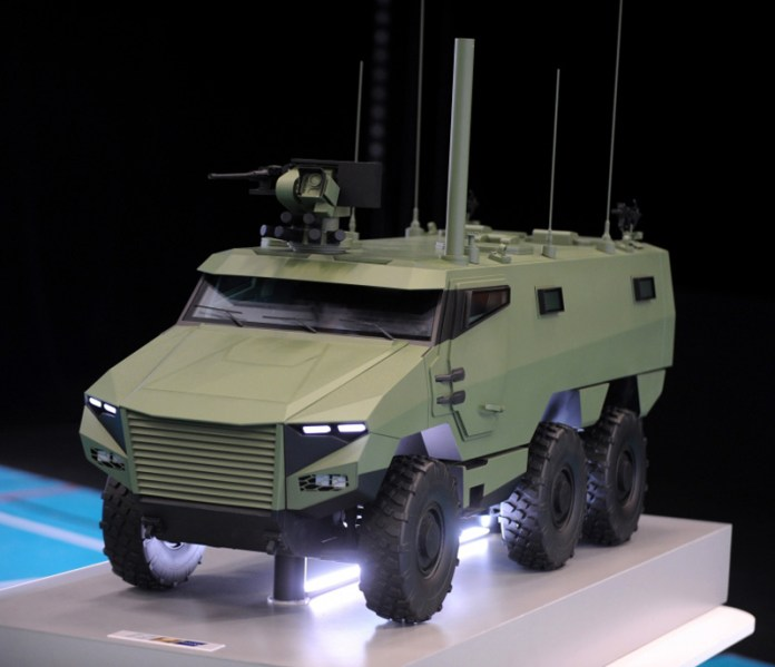 The VBMR is a 24.5 ton mine protected armoured vehicle designed to carry and support an infantry squad in the battlefield.