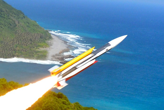 A test launch of Taiwan's Hsiung Feng III supersonic anti-ship missile. The missile can be launched from in ship-launched canisters or coastal defense mobile launchers.
