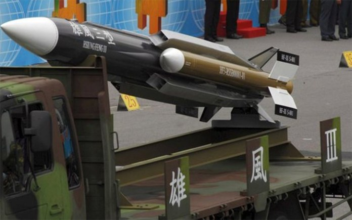 Taiwan's Hsiung Feng III supersonic anti-ship missile is currently in production and deployed on some of the ROC Navy corvettes and frigates. The 20 foot long (about six meters) missile has body diameter of 18 inch (457 mm, excluding fins and boosters). Its launch weight is 3000 lbs (1,361kb). the warhead weight is about 500 pound (225 kg.)