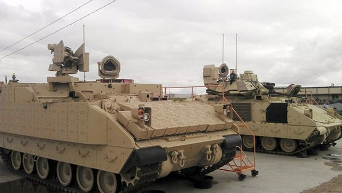 As part of its assessment of future combat vehicles the US Army compared its M2A3 Bradley Fighting Vehicle, with a turret-less Bradley (seen in the picture), Double V-Hull Stryker, Swedish CV9035 vehicle and the Israeli Namer. Each vehicle was evaluated for durability, capacity, modularity, lethality, interior space and operational capability. Photo: US Army.