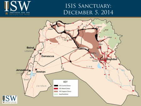 ISIS Sanctuary map - December 5, 2014 - Courtesy of the Institute for the Study of War (ISW)