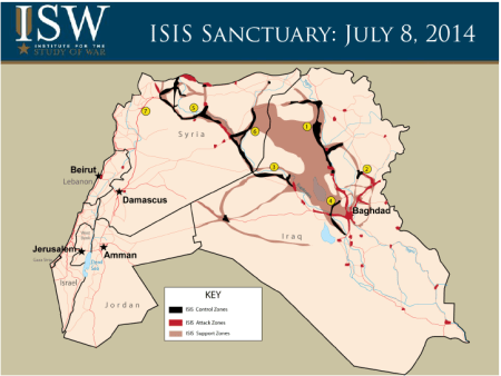 ISIS sanctuary map in Iraq - July 2014 - Courtesy of the Institute for the Study of War (ISW)