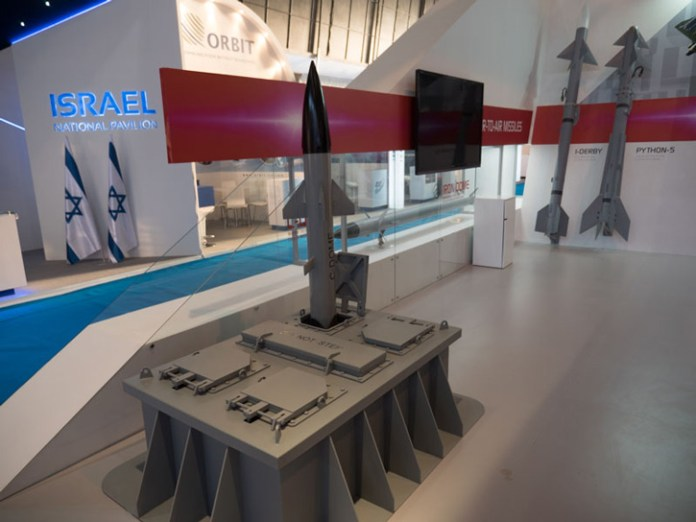 RAFAEL unveiled at Aero-India 2015 the C-DOME, a naval air defense system integrating a modified version of Iron Dome's  Tamir interceptor with vertical launchers fitting Barak 1 canisters. Photo: Noam Eshel, Defense-Update