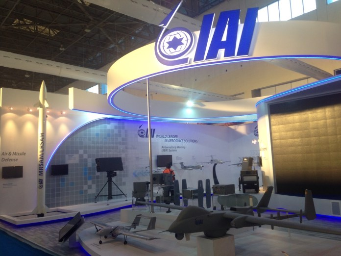 IAI display at Aero India 2015 highlights the company's broad product line of UAVs, Radars and Missiles. Photo: Noam Eshel, Defense-Update.