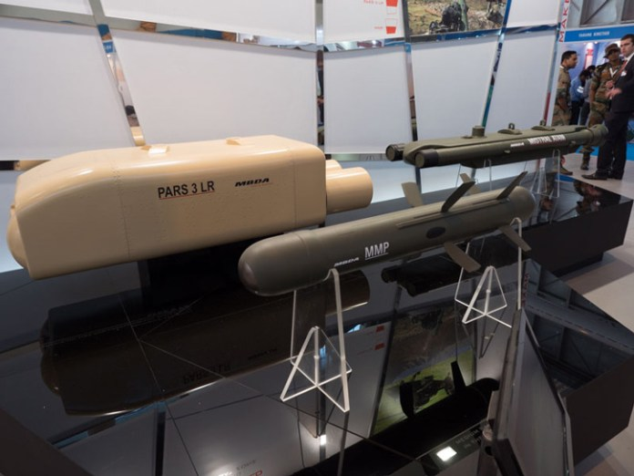 MBDA displayed at Aero India the PARS 3LR and MMP, both are considered competitors of the Israeli Spike, the two missiles compete head to head in several Indian procurement programs for helicopter armament. (Photo: Noam Eshel, Defense-Update)