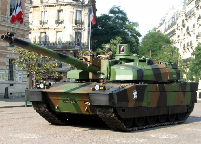 Leclerc tank from the 2nd Armored brigade participating in the military parade on Republic Day in Paris.