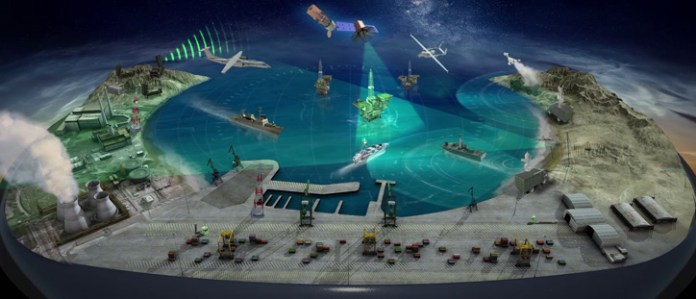 IAI is displaying at LAAD 2015 a comprehensive maritime security concept depicted in an interactive 3D model. Photo: IAI