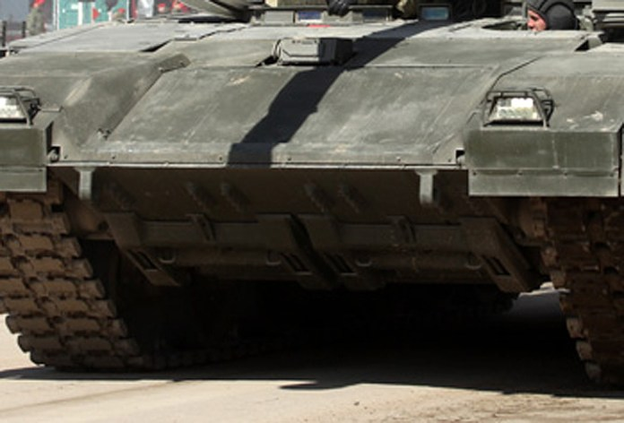 The Armata platform is configured with an active mine countermeasure system, designed to detect or trigger mines ahead of the tank. The system is mounted on the lower front edge of the vehicle. Photo: vitaly-Kuzmin