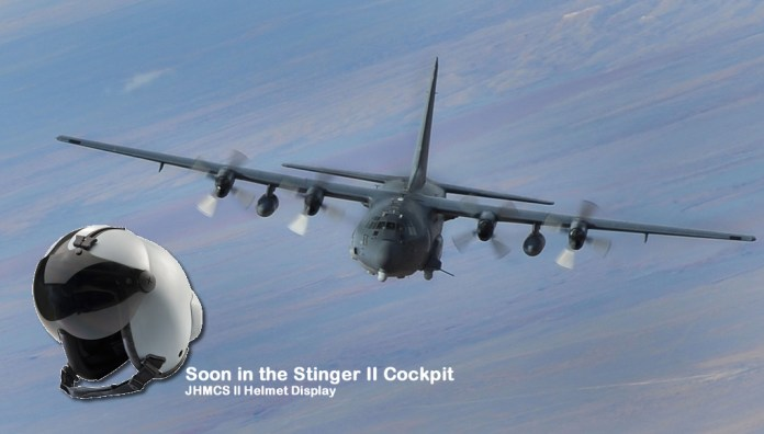 In two years the pilots of the AC-130W Stinger II gunship will operate the JHMCS II helmet mounted display, just like fighter pilots are using the helmet now. Photo: US Air Force & ELbit Systems