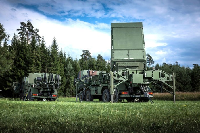 The MEADS Multifunction Fire Control Radar, shown in its German configuration, can detect and track advanced threats with 360-degree coverage and no blind spots. The radar is highly mobile and A400M transportable. Each MEADS element is lightweight and truck-mounted, mobile enough to move protection as needed or when forces move. Its rotating radars and advanced launchers provide 360-degree capability, and all components are networked using open architecture software and plug-and-fight capability. Photo: Lockheed Martin