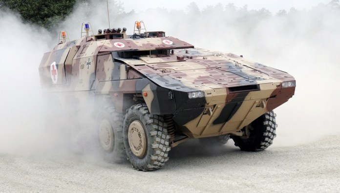 Boxer ambulance variant. The vehicle uses a common chassis and a modular payload design that accept mission modules to match specific user requirements. Photo: KMW