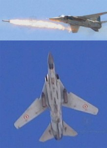 Syrian MiG-23 / 27 Flogger E are used by the Syrian Air Force for ground attack, carrying bombs and unguided rockets.