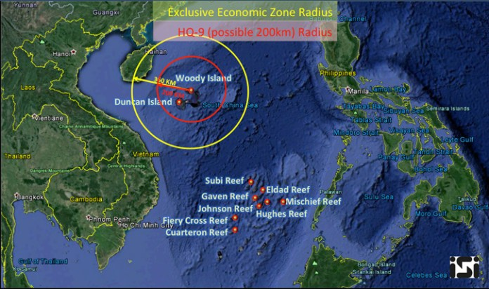 The 200 mile Economic Exclusion Zone claimed by China around Woody Island, and the overlapping 108 nm range of the HQ-9 SAM system. Image via ISI.