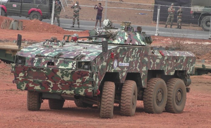 WhAP, an 8x8 armored infantry carrier developed by Tata (based on Tata's Kestrel design) was displayed at Defexpo 2016 by the DRDO. Note the two steerable axles at the front, improving the vehicle's maneuverability in urban and rough terrain. Photo: Noam Eshel, Defense-Update
