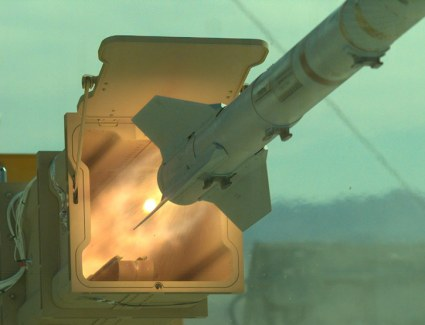Sidewinder AIM-9 missile fired from the canister of the new, multi-purpose launcher.