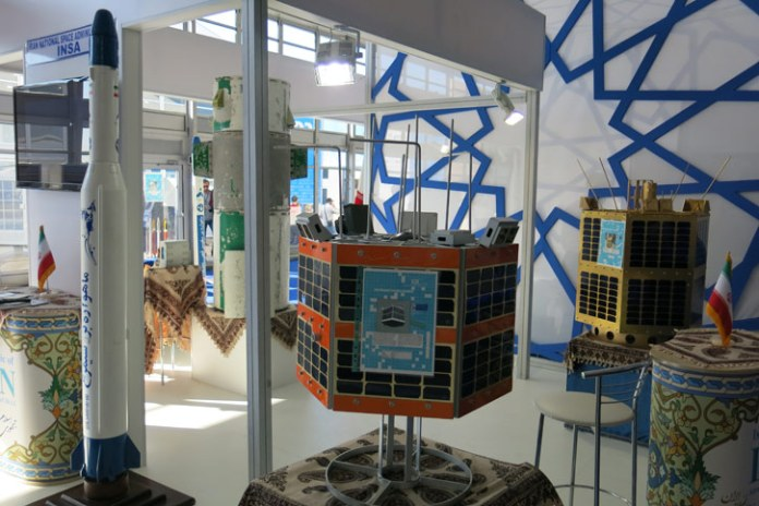 Iran's Space Agency's display shows Simorgh (left), Fajr (center) and Toloo remote sensing satellites. Photo: Tamir Eshel, Defense-Update