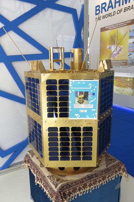 Toloo is the first of a new generation, hexagonal shaped satellites designed for remote sensing and Signals Intelligence (SIGINT) reconnaissance, being built by Iran Electronics Industries (IEI). Photo: Tamir Eshel, Defense-Update.