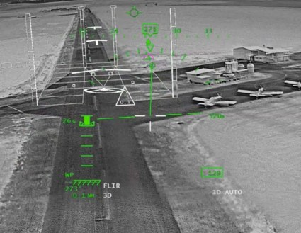 BrightNite display in landing mode, showing the landing zone and clear descent path. Photo: Elbit Systems