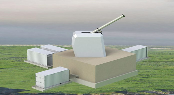 The footprint of a land-based fixed railgun system has greater expandability than a shipboard or mobile application, allowing for larger systems resulting in greater effective range. A land-based fixed railgun system, integrated with other national assets, provides added capability in a layered defense architecture. Illustration: General Atomics.