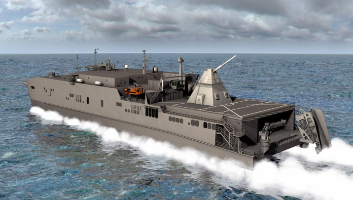 An artist's rendering shows the Office of Naval Research-funded electromagnetic railgun installed aboard the joint high-speed vessel USNS Millinocket (JHSV 3). Illustration: U.S. Navy.