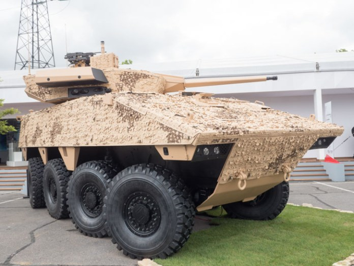 VBCI is also available with a new turret mounting the powerful 40mm cannon firing the case telescpic ammunition system from CTA. The gun is already used on the British Ajax and is selected for the French Jaguar wheeled armed scout. Photo: Noam Eshel, Defense-Update.