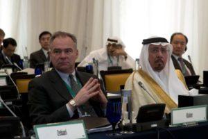 Debating Syria: US Sen. Tim Kaine, D-Va., listens to Defense Secretary Chuck Hagel at the Manama Dialogue in Bahrain on Dec. 7 (US Defense Department).
